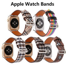 watch bands for apple watch 4 5 42mm 44mm strap Leather stripe smart wearable accessories for iwatch 1 2 3 38mm 40 watch strap(China)
