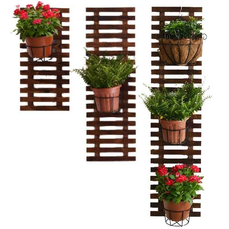 Anticorrosive Wood Grid Wall Flower Stand Balcony Wall Hanging Green Dill Wall Hanging Plant Stand Solid Wood Hanging Wall Flowe