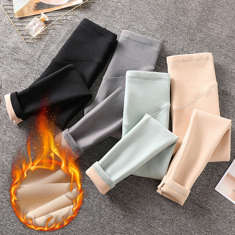 1021# Autumn Winter Maternity Skinny Legging Korean Fashion Slim Pencil Pants Clothes For Pregnant Women Thicken Warm Pregnancy