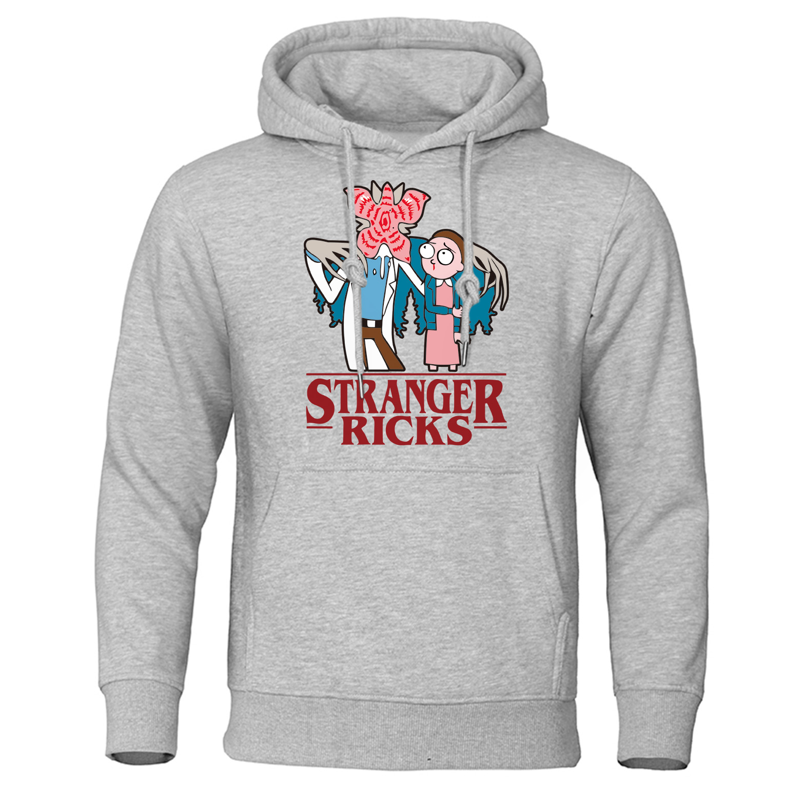 Stranger Things Hoodie Men Rick And Morty Funny Print 2019 Autumn Fleece Warm Hooded Sweatshirt Fashion Mens Pullover Streetwear