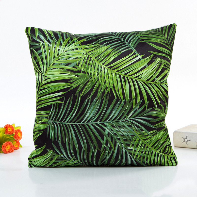 1Pcs Green Leaves Cover Throw Sofa Cushion Waist Throw Car Cushion Cover Home Decor Polyester Cojines Decorativos