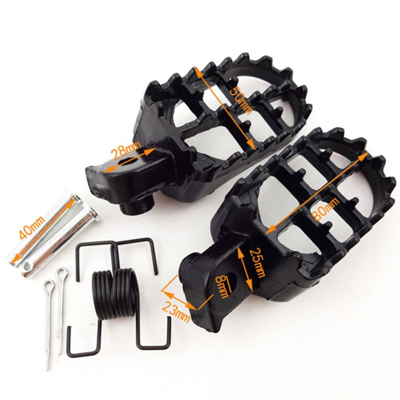 2 Piece Footstool Foot Pegs Ironic Motocross Black Aluminum Pads Motorcycle Accessories