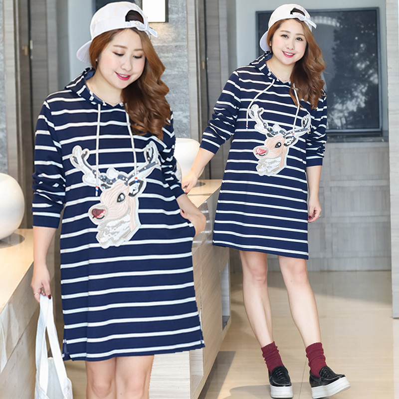 [Half Off Closeout-] Fat Mm Plus-sized Autumn Clothing New Style Stripes Hooded Zhang Wei Yi Dress Fashion 0264