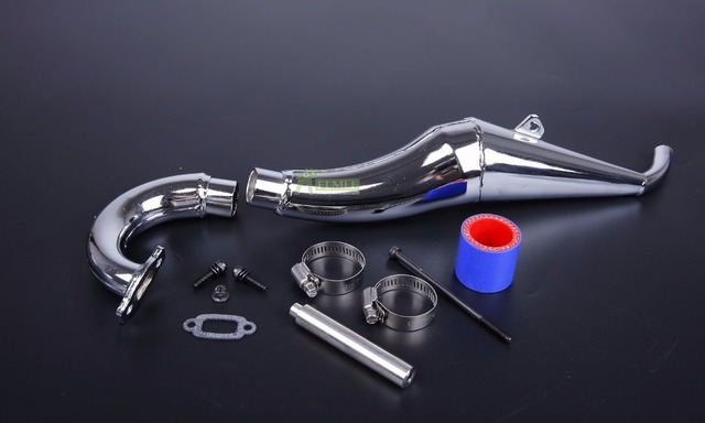 Side Exhaust Pipe Tuned Pipe Set Fit for 1/5 HPI ROVAN KM BAJA 4WD BAJA