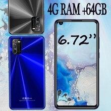Smartphones 6.72 polegada tela 7a 4g ram 64g rom 8mp + 13mp hd câmera face id desbloqueado telefones celulares android barato celulares wifi