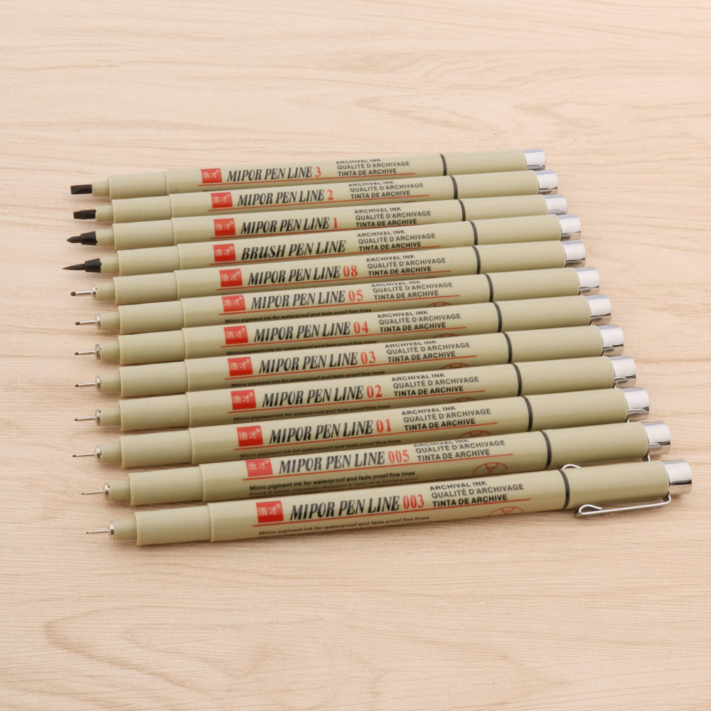 12pc Micron Neelde Soft Brush Drawing Pen 005 01 02 03 04 05 08 Brush Fine Point Markers Pen