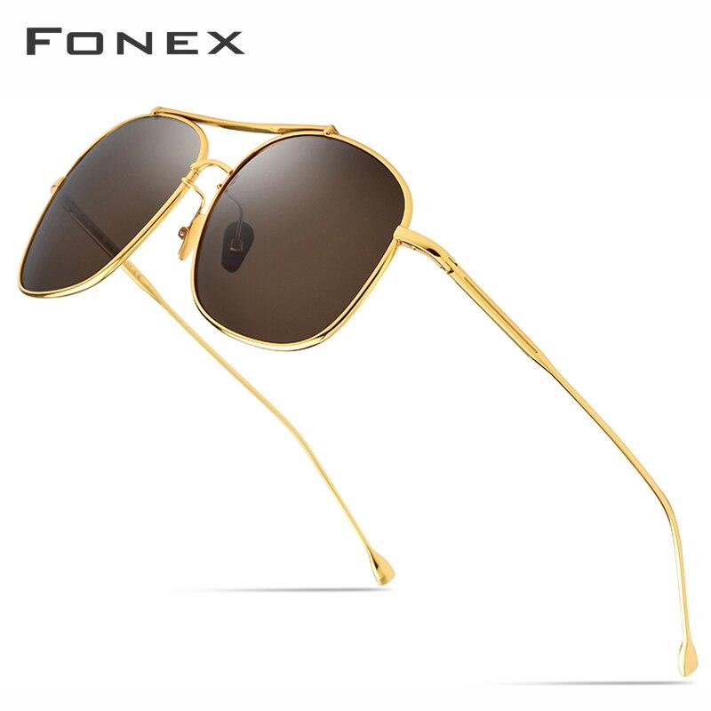 FONEX Pure Titanium Polarized Sunglasses Men 2019 New High Quality Classic Square Sun Glasses For Men Male Ultralight Shades 896