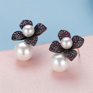 Image 5 - Vintage Jewelry Stud Earrings For Women 925 Silver Simple Flower Cubic Zirconia Freshwater Pearls Wedding Brincos CCE647