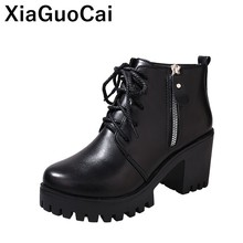 Women Boots 2019 Spring Autumn Woman Shoes High Top Lace Up Zipper Female Ankle Martin Boots PU Leather British Ladies Pumps the spring and autumn martin boots high heeled boots tide thick soled boot female british style lace up shoes boots big shoes