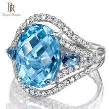 Bague Ringen высококачественное женское кольцо с 10*12 мм овальным аквамариновым драгоценным камнем Настоящее 925 Серебряное Ювелирное кольцо для свадебной вечеринки