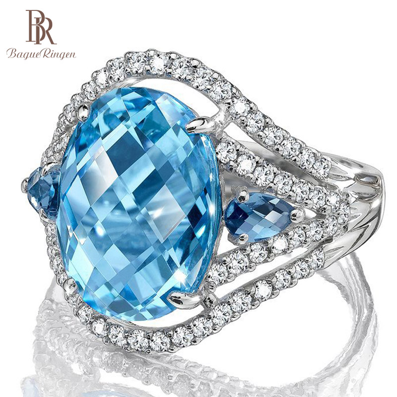 Bague Ringen High Quality Female Ring with 10*12mm Oval Aquamarine Gemstone 100% Real 925 Silver jewely Wedding Party Rings