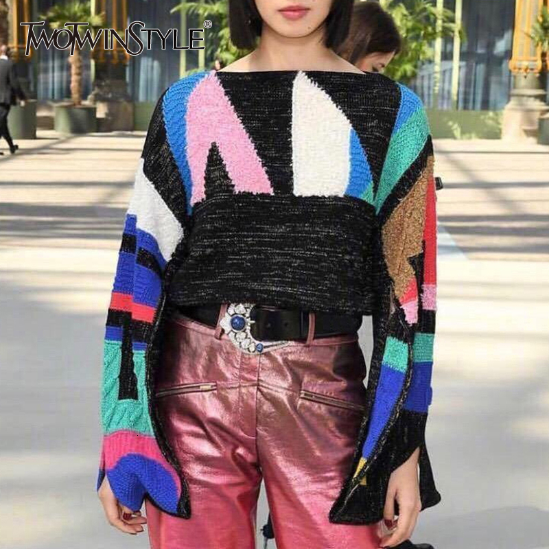 TWOTWINSTYLE Patchwork Geometric Hit Color  Women's Sweater O Neck Long Sleeve Female Sweaters 2020 Autumn Oversized Fashion New