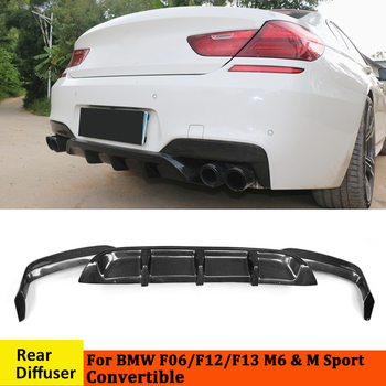 Rear Bumper Diffuser Protecter for BMW F06 F12 F13 M6 & M Sport Convertible 2012-2017 Dual Sides Four Outlets Carbon Fiber / FRP image