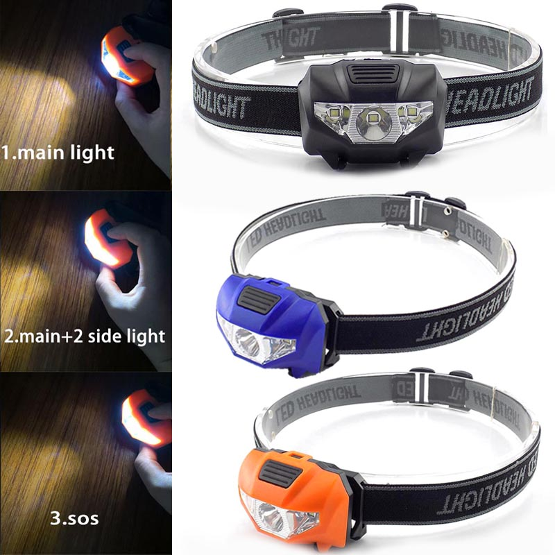 5W Mini LED Headlamp Headlight Head Light Torch Lamp Fishing Small Bright High Power 3 LED Lantern Lampe For Camping AAA Battery
