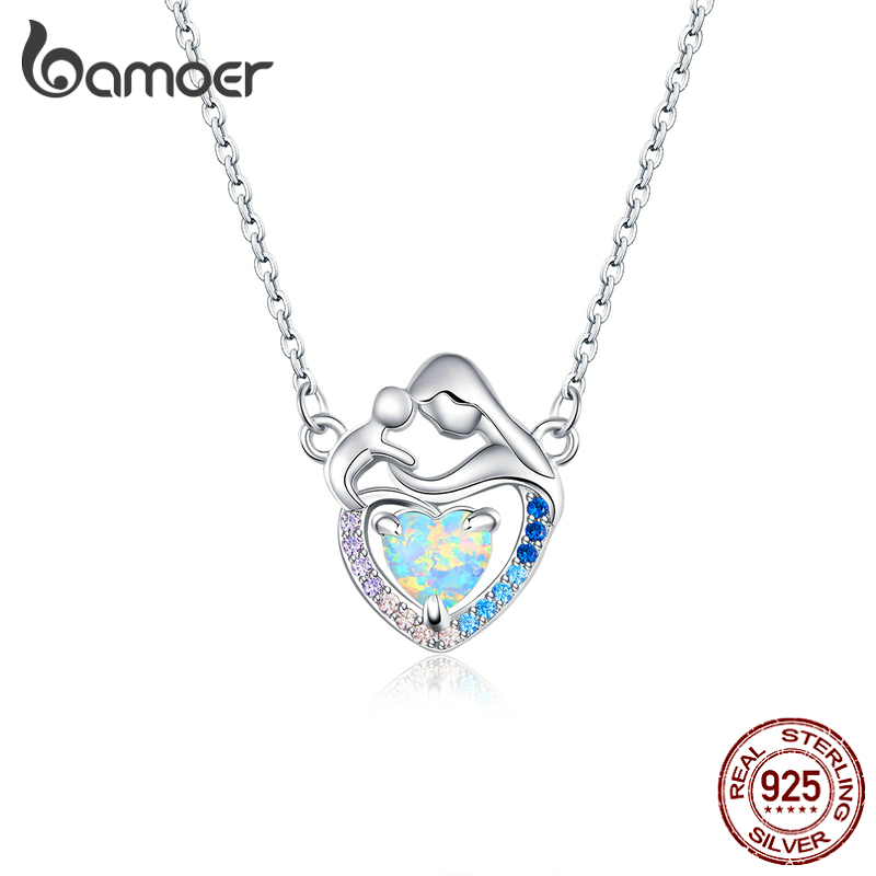 bamoer Authentic 925 Sterling Silver Mom and Baby Heart Shape Necklace for Women Mother Gift Original Design Jewelry BSN172