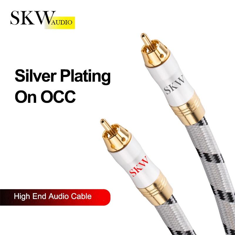 SKW haut de gamme Hifi RCA câble 1RCA à 1RCA mâle à mâle câble Audio plaqué argent sur OCC convient pour lecteur CD DVD amplificateur de puissance