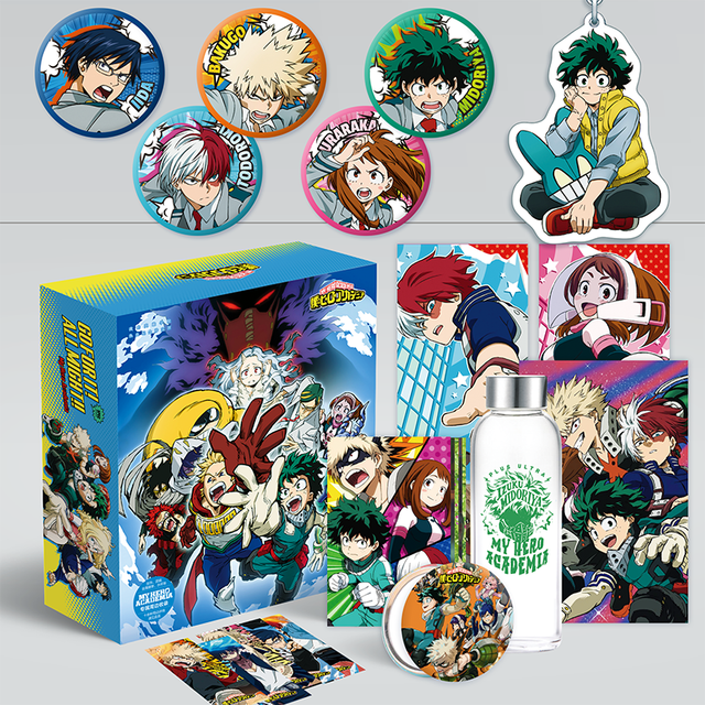 New Anime My Hero Academia Comic Set Water Cup Postcard Sticker and Poster Luxury Gift Box Anime Around