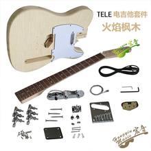 TL estilo agua ondulaciones madera guitarra eléctrica, Kit de bricolaje, tilo de tilo, cubo, palisandro, diapasón, duradero