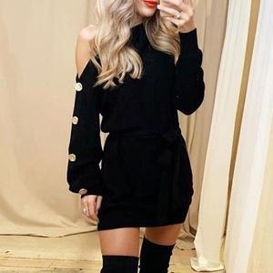 Image 2 - Misswim 캐주얼 니트 풀오버 스웨터 드레스 여성 우아한 한 어깨 새시 가을 겨울 드레스 숙녀 느슨한 미디 드레스 2019