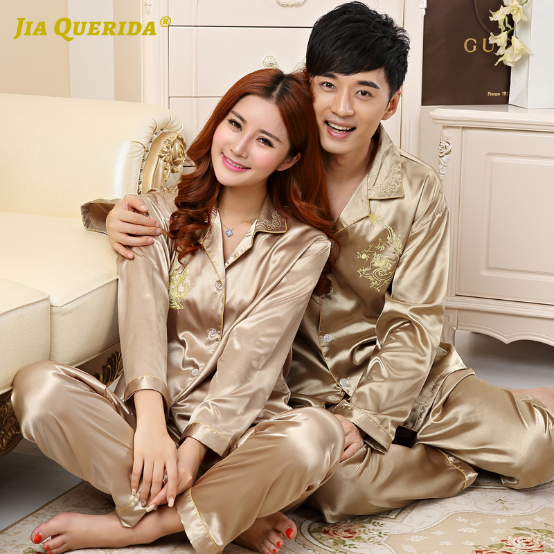 Imitated Silk Satin Silk Couple Homesuit Homeclothes Fashion Style Casual Style Long Sleeve Long Pants Sleepwear New Pajamas Set
