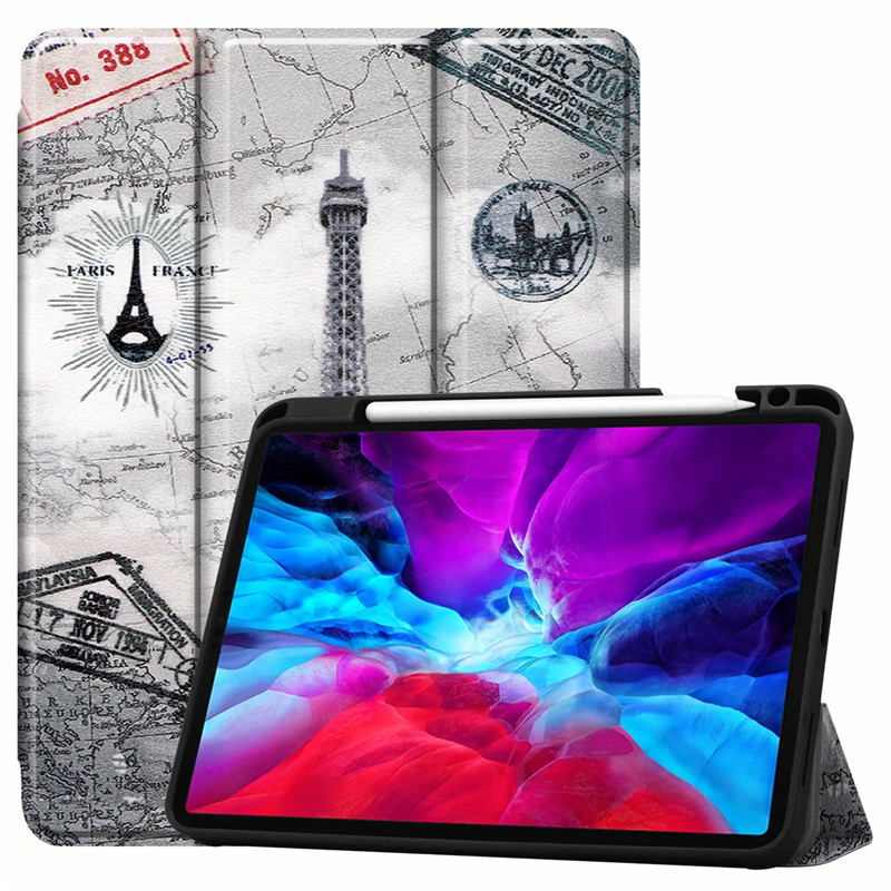Tower Black Painted Case For iPad Pro 12 9 Case 2020 PU Leather TPU Back Stand Smart Cover