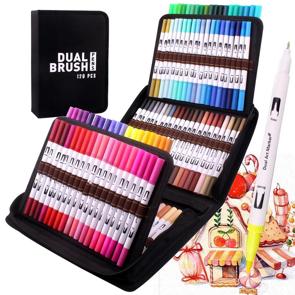Dual Brush Art Markers Pen Pen Fine Tip 120 Color Watercolor Brush Markers Dual Tip Drawing for Manga Art Supplies School manga