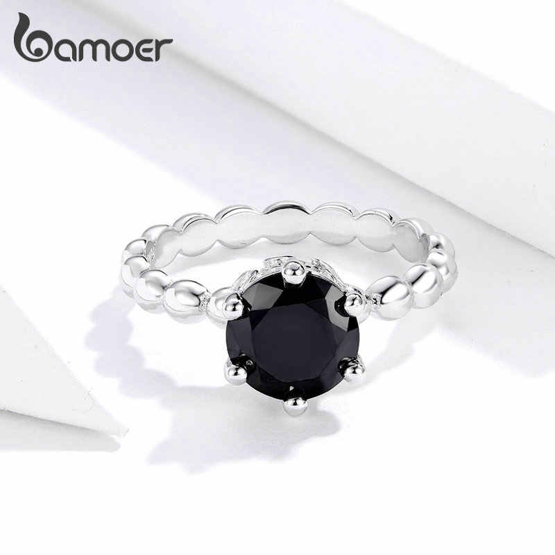 Bamoer Trendy CLASSIC Silver Minimalist Claw-ชุดลูกปัดสีดำ Zircon แหวนของขวัญเครื่องประดับสำหรับเธอ Glitter FINE JEWEL GO7221