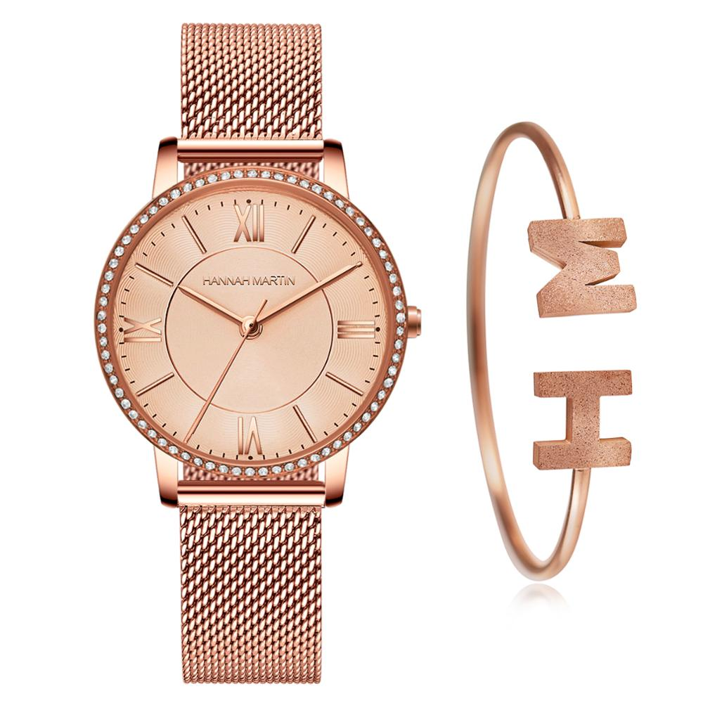 New Simple Hannah Martin Japan Quartz Movement Hight Quality Ultra-thin Women Stainless Steel Mesh Waterproof Ladies Watches