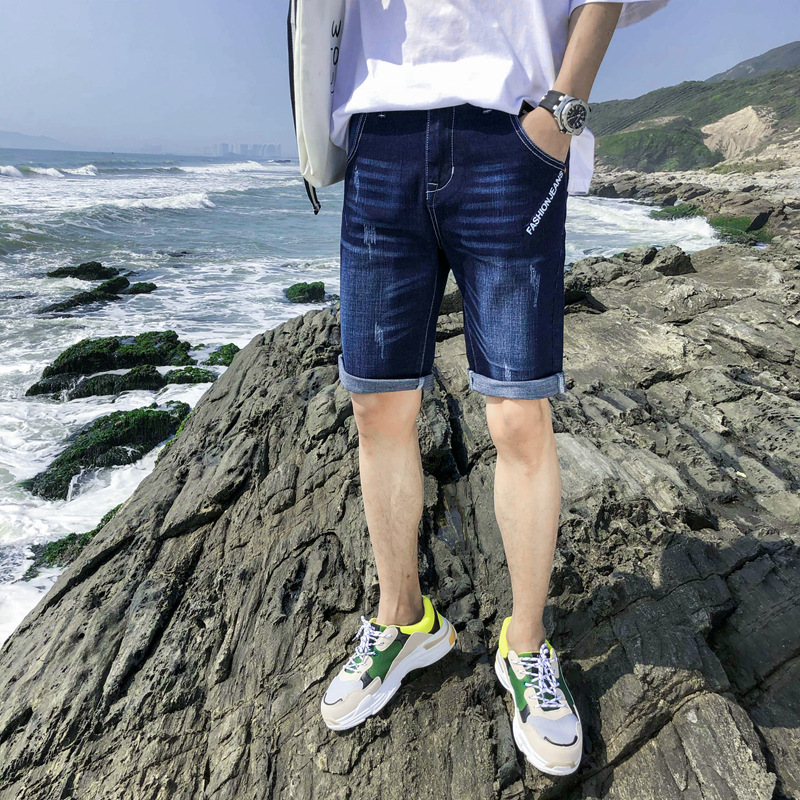 Denim Shorts Men's Fashion Summer Elasticity Fashion Pants Summer Thin Youth Straight-Cut Casual MEN'S Fifth Pants