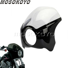 """Motorcycle Cafe Racer 5.75"""" Gloss Black Headlight Fairing ABS Plastic 5 3/4"""" Front Mask Windshield for Harley Softail Bobber"""