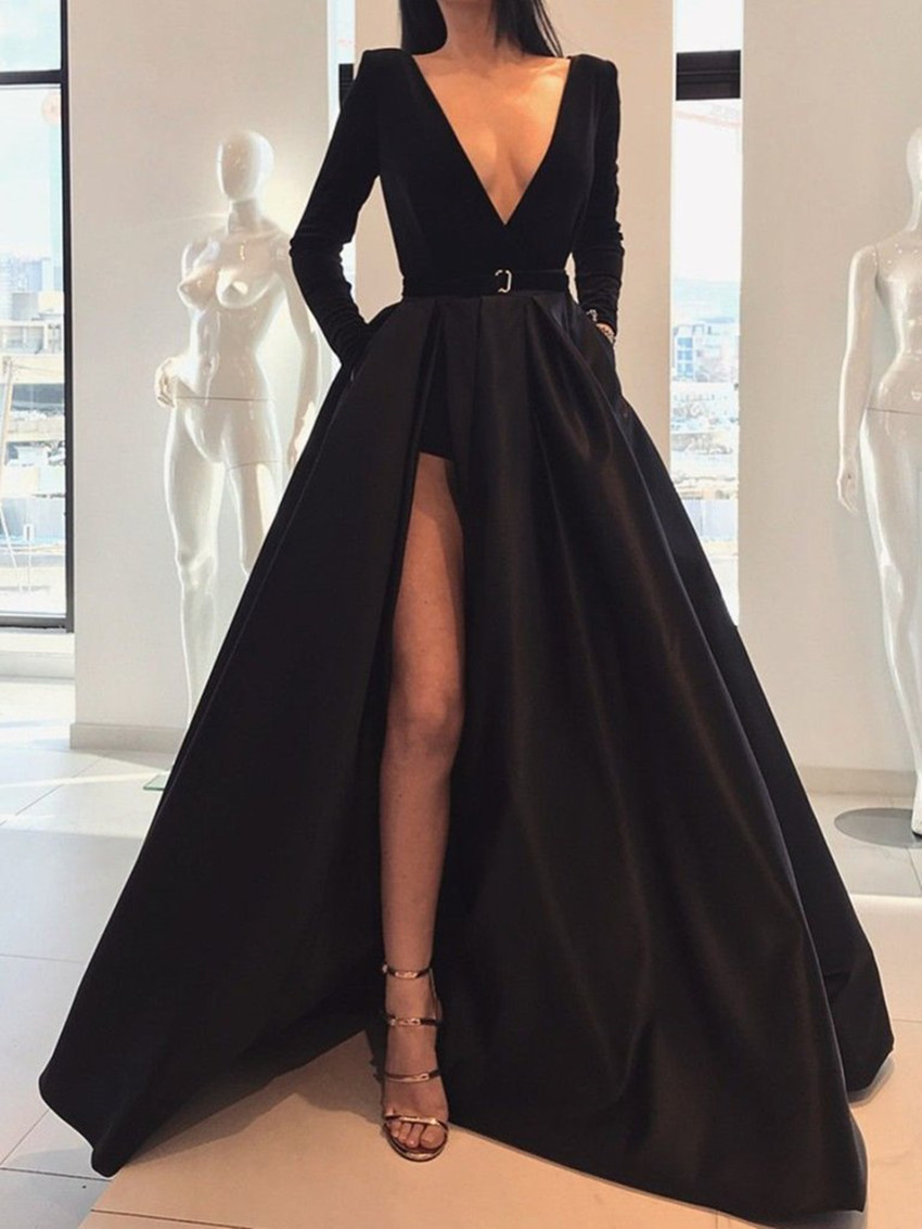 2020 Saudi Arabic Black High Side Split A-ling Prom Dresses Full Sleeves Modest Long Prom Gowns Vestido Longo Festa