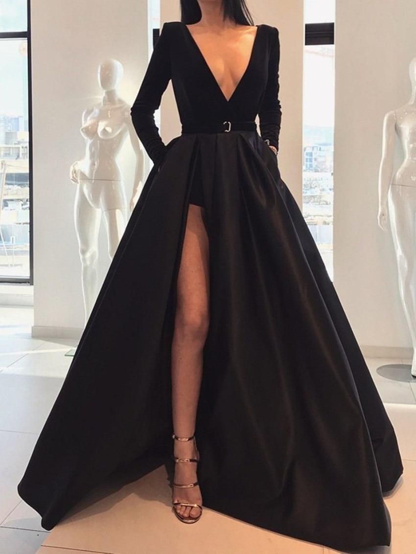 2020 saoudien arabe noir haut côté fendu a-ling robes de bal manches longues modestes robes de bal Vestido Longo Festa