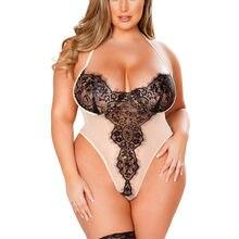 Roupa interior sexy lingerie feminina 5xl plus size quente erótico sexy lingerie renda transparente profundo decote em v lingerie teddy sexy bodydoll lenceria