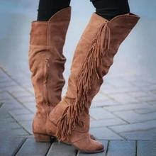 Puimentiua Women Round Toe Low Heel Knee High Tassel Boots Lady Solid Color Flock Leather Slip-On Long Spring Autumn Boots(China)