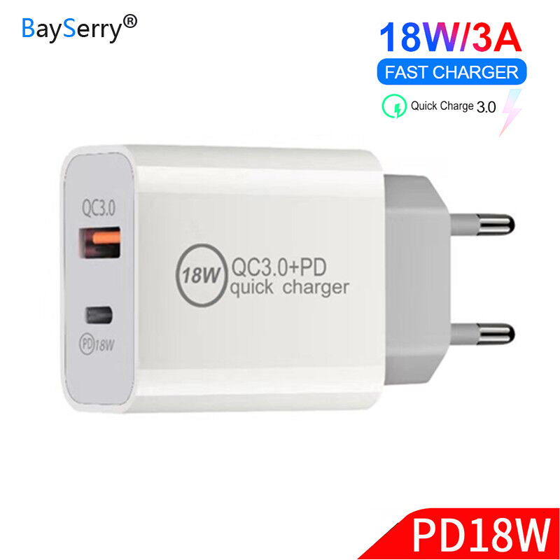 18W USB C PD Charger EU/US/UK Plug 3 in 1 Triple Universal Travel Mobile Phone Charger QC 3.0 Adapter Samsung S9 Note9 A6s A8 A9