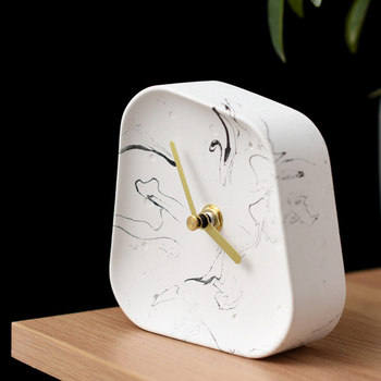 Nordic Home Decoration Accessories Geometry Shaped Cement Table Clock Desktop Decoration Mute Concrete Small Desk Clock 4