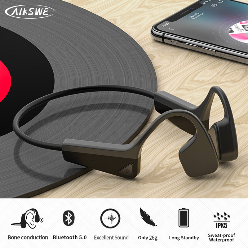 AIKSWE Bone Conduction Headphones Bluetooth wireless Sports Earphone IP56 Headset Stereo Hands free with microphone For Running