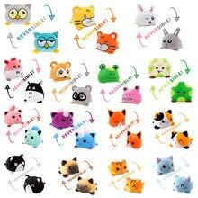 Reversível gato brinquedo de pelúcia recheado com raiva flip feliz brinquedos macio bonito duplo-face colorido animal boneca popular crianças presentes