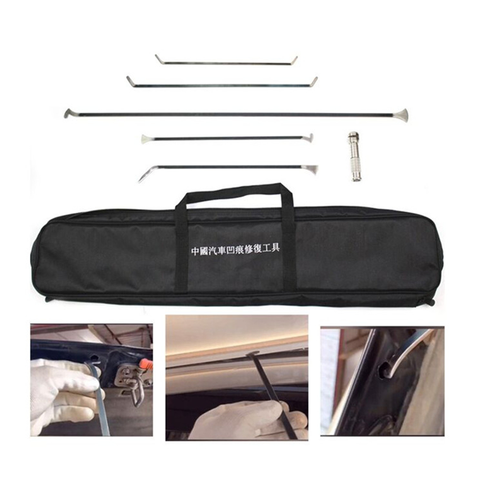 Dent Removal Rods Tools Dent Repair Kit 6 Pcs Rod Whale Tail With Slide Hammer Tips Tool For Car Dents Hail Damage Removal