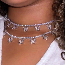 Kasajewel collana con ciondolo a farfalla Color argento dorato catena da clavicola in cristallo lucido femminile moda nuovo Design gioielli regalo per feste