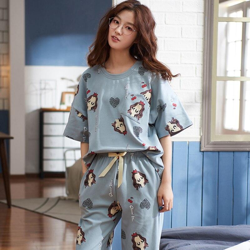 New Lazy Princess Style 2020 Spring Summer Cotton Women Pajamas Set Cute Short Sleeve Women Sleepwear Loose Leisure Outwear