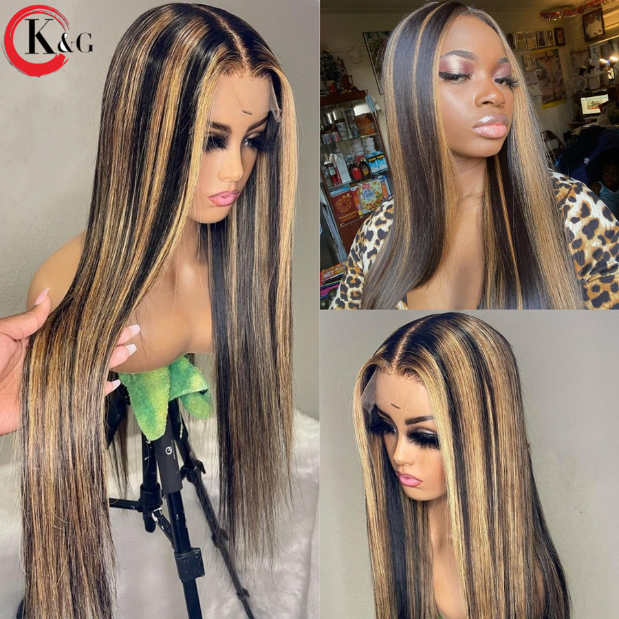 "KUNGANG evidenzia 13*6 parrucche in pizzo t-part parrucche diritte per capelli umani parrucche frontali brasiliane per donna150 % densità ""8-24"" Non Remy"