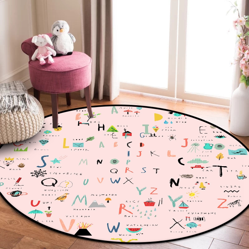 Nordic Style Pink Kids Round Carpets Letters Girl Bedroom Bedside Area Rugs Baby Kids Play Tent Crawling Mat Hallway Floor Mats