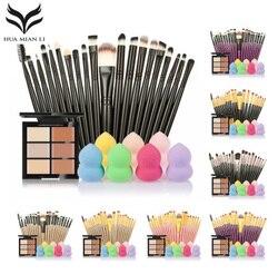 Juego de brochas de maquillaje 6 colores corrector paleta maquiagem Puff 20 pinceles contorno facial cosmético herramientas de maquillaje pinceles para maquillaje