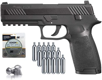 SIG Sauer P320 Air Pistol with CO2 12 Gram (15 Pack) and 500 Lead Pellets Wall tin sign asg licensed cz 75 p 07 duty co2 177 bb air pistol black