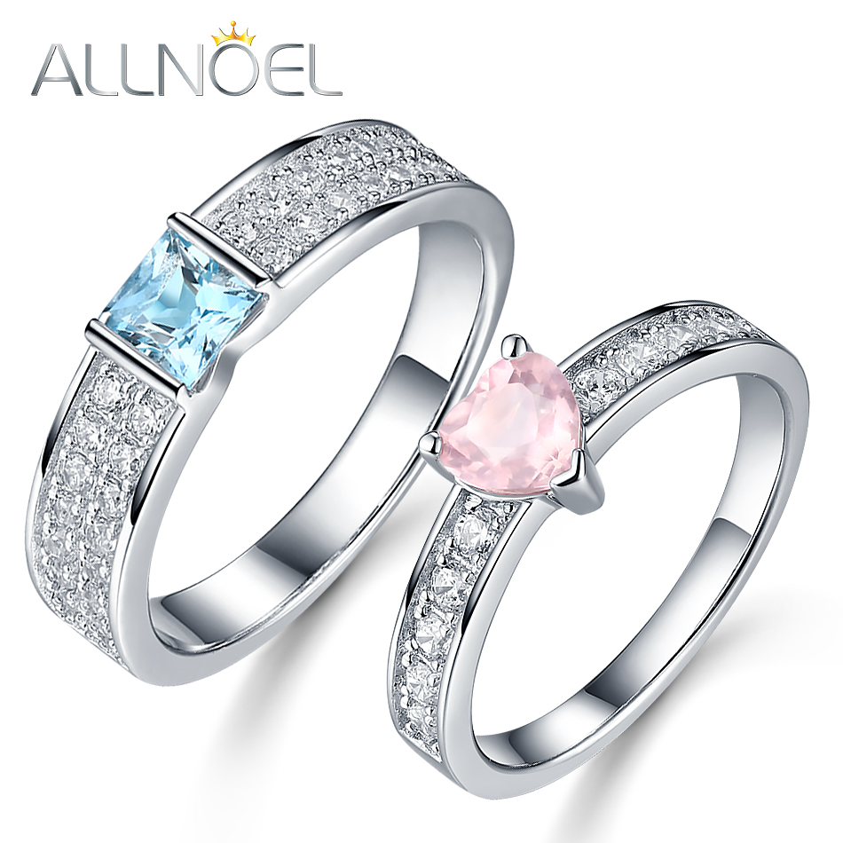 ALLNOEL 925 Sterling Silver Couple Rings Natural Blue Topaz Rose Quartz White Gold Plated Indian Luxury  Jewelry Gifts For Women