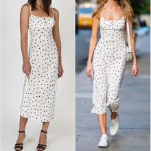 Fashion Summer Strawberry Dress Sexy Midi Vestidos Print Women Dresses Adjustable Spaghetti Straps White Long Sleeveless Dress