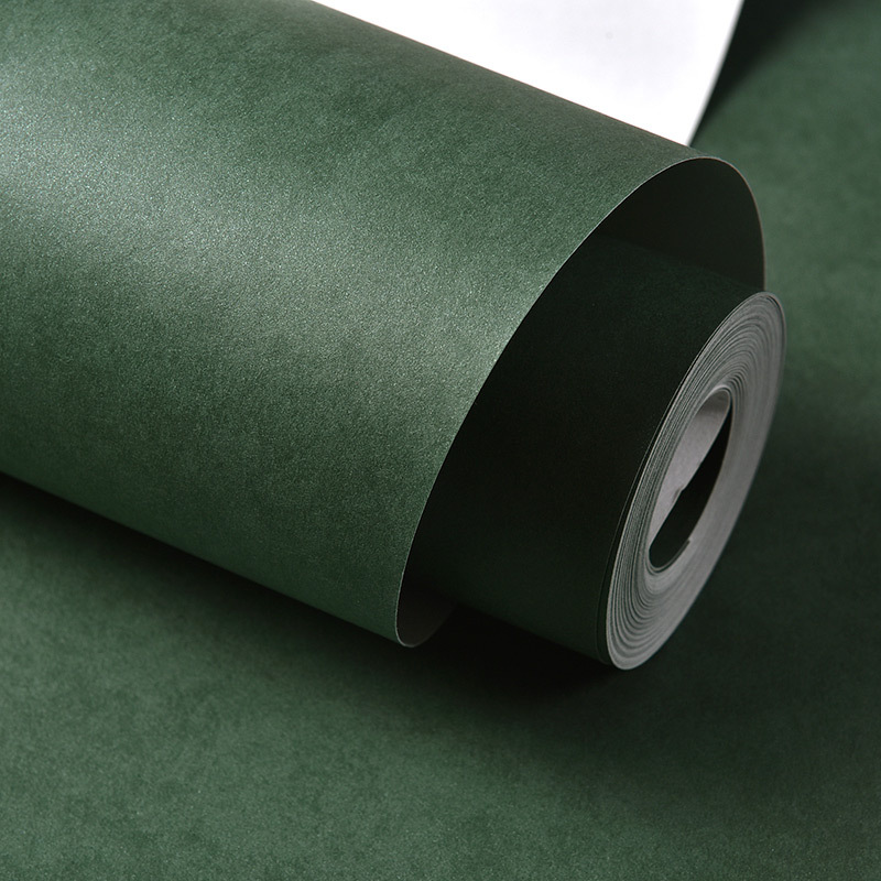 Solid Color Nonwoven Fabric Bedroom Living Room Wallpaper Simple Plain Color Hotel Decoration Dark Green Gray Wallpaper