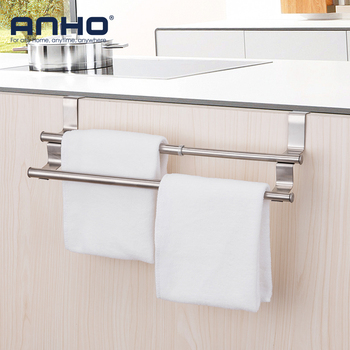 2pcs Multifunction Stainless Steel Door After Hooks Adjustable Kitchen Cabinet Door Back Rack Non-nail Bathroom Towel Holder 1