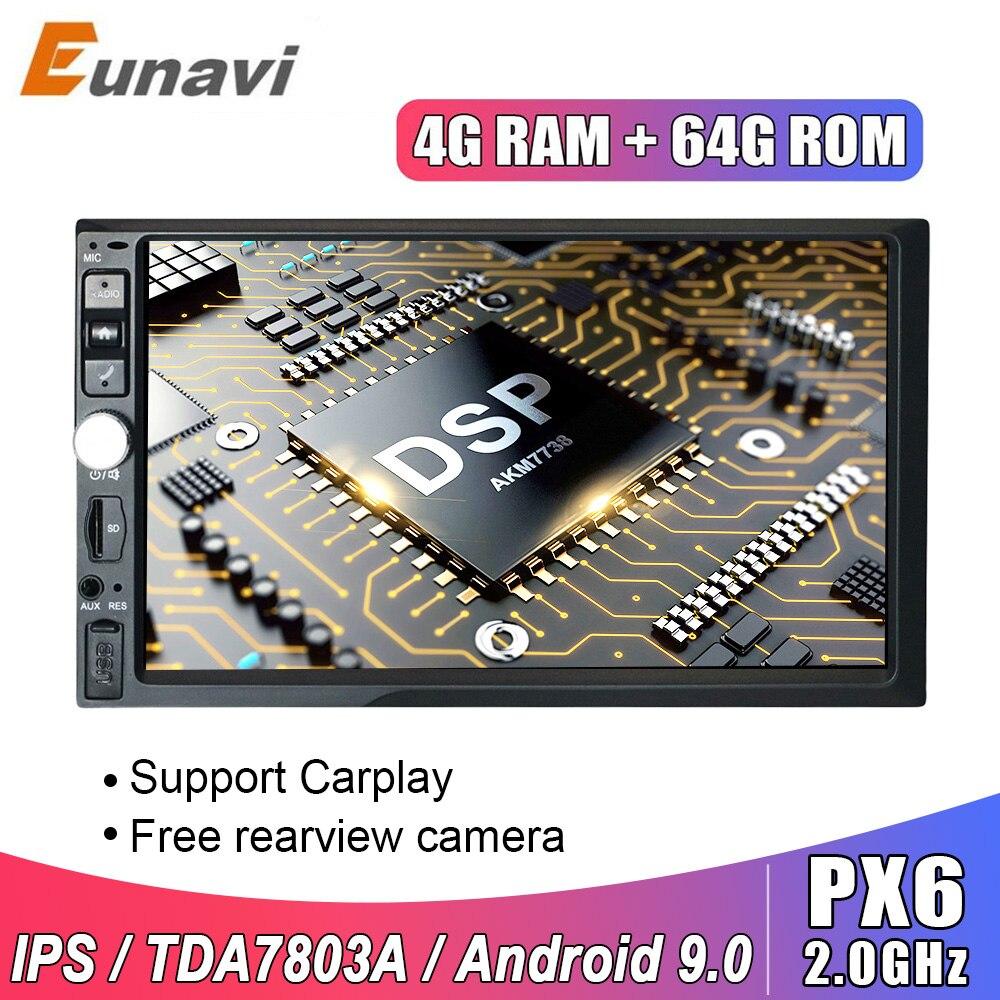 Eunavi 2 Din 7 ''uniwersalny system Android 9.0 4GB 64GB samochodowe Multimedia Radio stereofoniczne z GPS nawigacja WiFi ekran dotykowy DSP 2din nie DVD CD